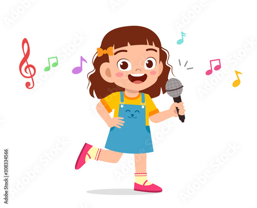 Obraz happy cute kid girl sing with smile - fototapety do salonu