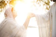 Female Wearing A Biblical Robe...