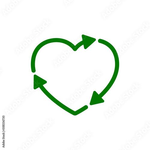 Fototapeta Recycle heart icon. Love eco sign – vector for stock obraz na płótnie
