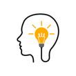 Idea, creative concept with head and bulb - stock vector