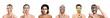 Leinwandbild Motiv Different women with facial masks on white background
