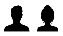 Man And Woman Head Icon Silhou...