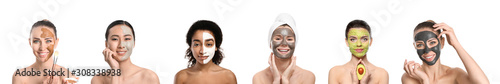 Different women with facial masks on white background - 308338938