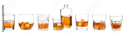 Fotografie, Obraz Bottle and glasses of whiskey on white background