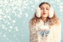 Happy Young Woman In Winter Cl...