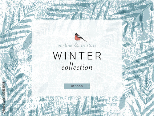 Photo social media banner template for advertising winter arrivals collection or seasonal sales promotion