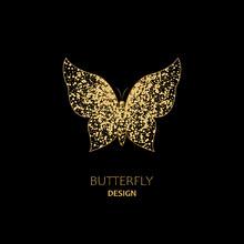 Golden Butterfly On Black Background. Logo, Emblem, Badge. Eps10