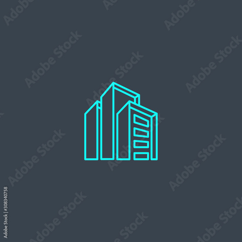 commercial property concept blue line icon. Simple thin element on dark background. commercial property concept outline symbol design from real estate set. Can be used for web and mobile UI/UX