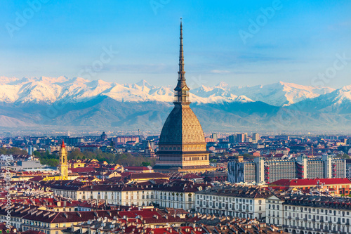 Canvas Print Mole Antonelliana aerial view, Turin