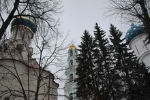 Low Angle Picture Of Russian Monasteries With Blue Roofs Covered With Trees During Winter