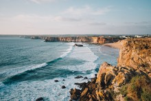 Beautiful Tonel Beach With A Lot Of Rock Formations In Sagres, Portugal