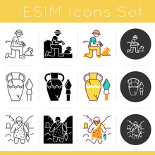 Archeology Icons Set. Excavati...