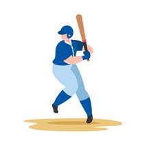 Baseball Player Swing Baseball Bat, Vector Sport Illustration