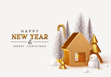 Happy New Year! Christmas Trees Lush And 3d Golden Conical Fir, Winter Snow Composition. Gold House. New Year Gold Metal Volumetric Title Text. Xmas Holiday Gift Card. Creative Stylish Background