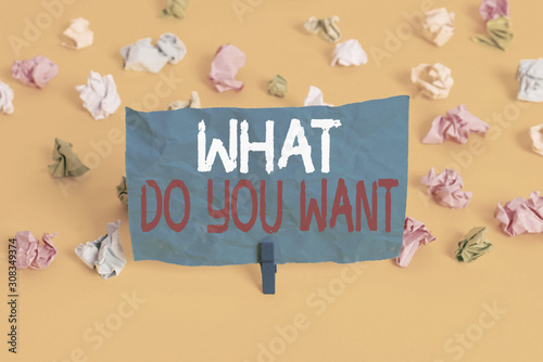Photo  Conceptual hand writing showing What Do You Want