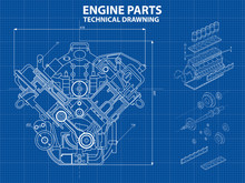 Technical Blue Background With Drawings Of Details And Mechanisms.Engine Line Drawing Background. Vector Illustration