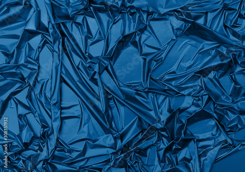 Fotografie, Tablou Shiny crumpled surface of trendy blue foil for textured holiday background