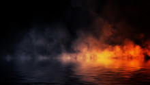 The Confrontation Of Water Vs Fire. Mystical Smoke With Reflection On The Shore. Stock Illustration Background. Design Element.