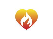 Fire Burning Inside A Heart For Logo Design Illustration On White Background