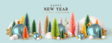 Happy New Year. Xmas Design Background, Christmas Trees, Decorative Balls, Snow Drifts. Holiday Gift Card, Festive Poster, Web Banner, Header For Website. Winter Season With Traditional Elements.