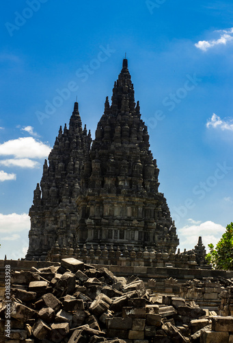 Candi Prambanan or Rara Jonggrang, Hindu temple compound on background. Impressive architectural site. Yogyakarta, Central Java, Indonesia