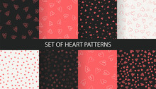Set Of Trendy Red Hand-drawn Doodle Seamless Pattern With Hearts. Collection Of Valentines Day Backgrounds