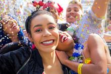 Friends At Street Party Take A Photograph, Selfie. Brazilian Carnival.