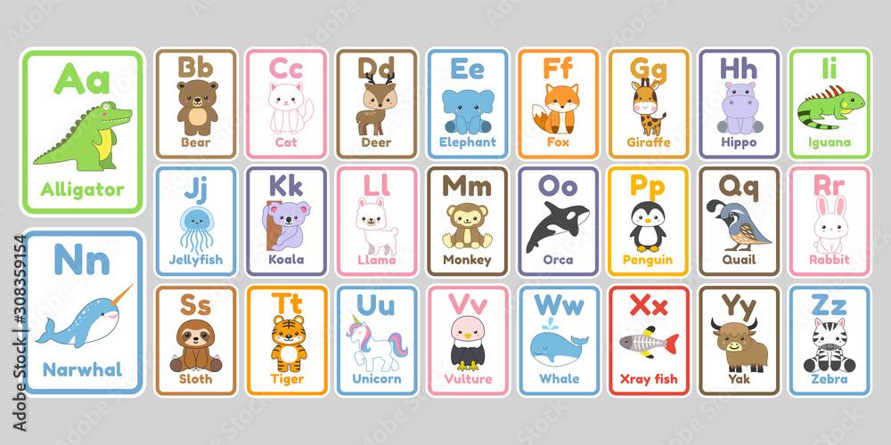 Cute kawaii animals alphabet letters for kids <span>plik: #308359154 | autor: boex</span>