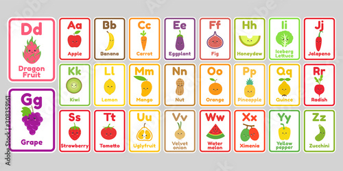 Cute kawaii fruits and vegetables alphabet letters for kids Wallpaper Mural