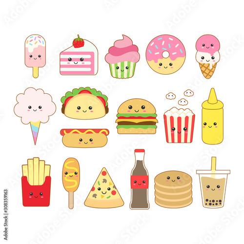 Cute kawaii junk food drawing illustration Canvas Print
