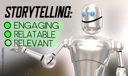 Storytelling Checklist Relevant Relatable Engaging Robot 3d Animation Canvas Print