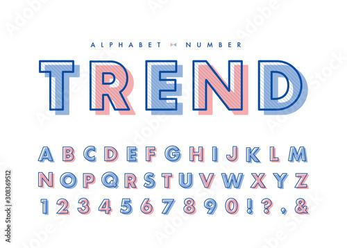 Fototapeta Diagonal line alphabet & number set. Vector retro vintage typography. Font collection for headline or title design of poster, brochure, scrapbook or print.  obraz