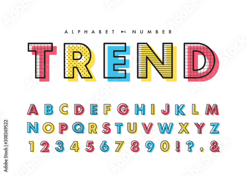 Fotomural Memphis alphabet & number set