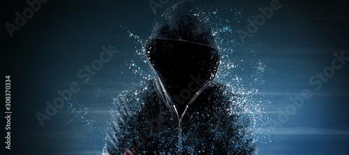 Fototapeta Cybersecurity, computer hacker with hoodie obraz