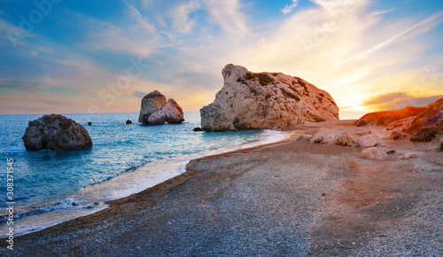 Aphrodite's beach and stone at sunset Wallpaper Mural