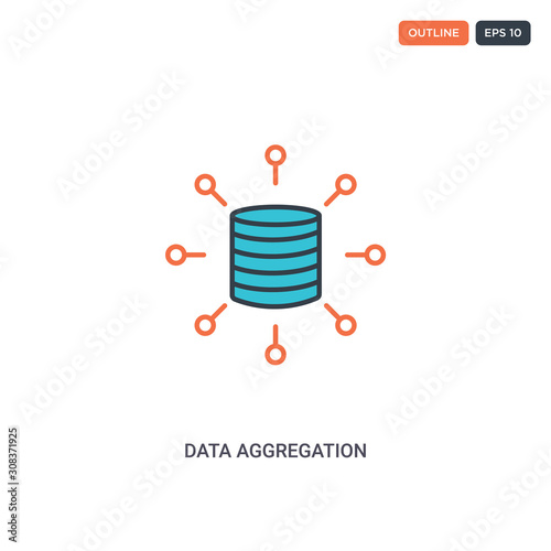 Photo 2 color data aggregation concept line vector icon