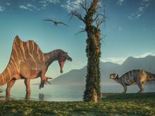 Spinosaurus And An Iguanodon