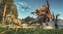 Spinosaurus And Deinonychus