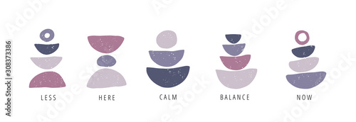 Obraz Balance, calm, now flat vector posters set - fototapety do salonu