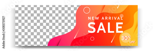 Cuadros en Lienzo  Abstract gradient modern geometric banner template design in yellow, orange, white color