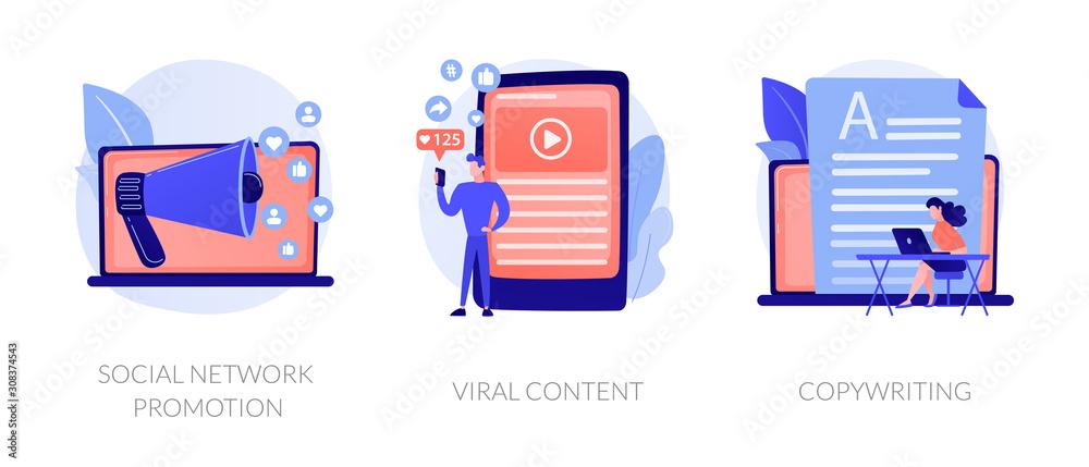 Fototapeta Digital marketing types icons set. SMM, influencer online advertising. Social network promotion, viral content, copywriting metaphors. Vector isolated concept metaphor illustrations.