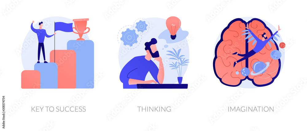Fototapeta Creative entrepreneurship icons set. Business growth, creative planning, innovative development. Key to success, thinking, imagination metaphors. Vector isolated concept metaphor illustrations