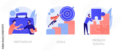 Successful business icons set Wallpaper Mural