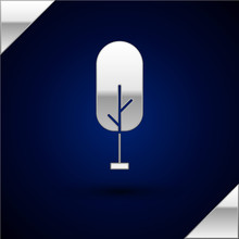 Silver Tree Icon Isolated On D...