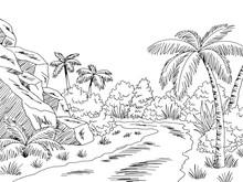Jungle Road Graphic Black White Landscape Sketch Illustration Vector