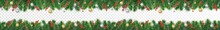 Vector Christmas Decoration. Christmas Tree Border With Holly Berry And Ornaments