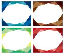 ガラスっぽい幾何学フレーム4色