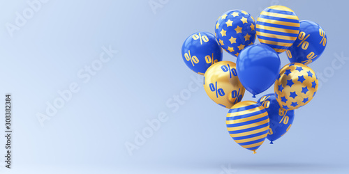 Blue balloons with golden percent on a blue background Canvas Print