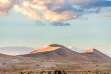 Golden Light On Kelso Sand Dunes At Sunset In The Mojave Desert, Mojave National Preserve, California, USA