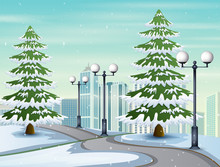 Illustration Of Snowy Road To The City